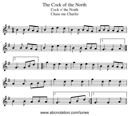 Cock of the North, The - staff notation