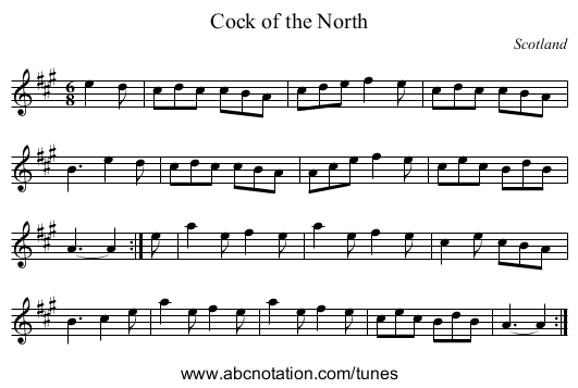 Cock of the North - staff notation