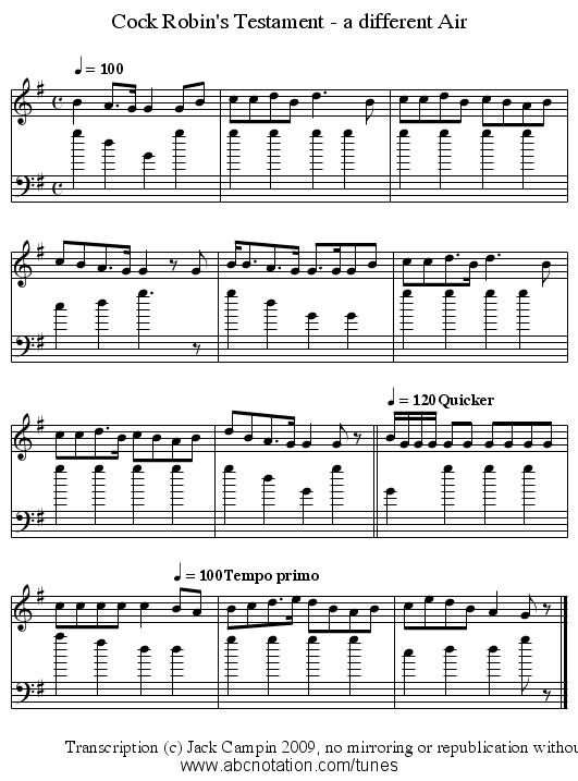 Cock Robin's Testament - a different Air - staff notation