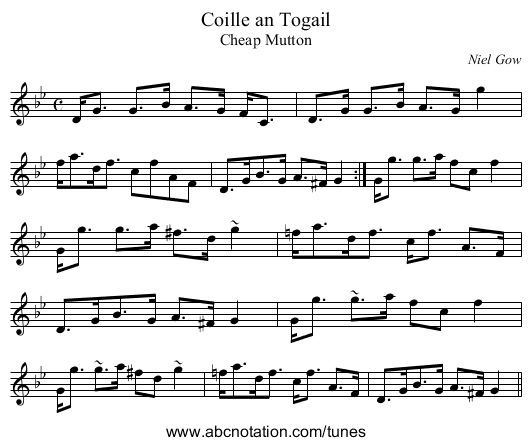 Coille an Togail - staff notation