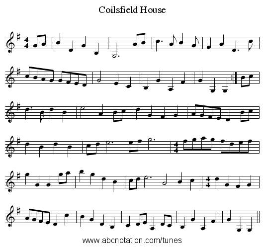 Coilsfield House - staff notation