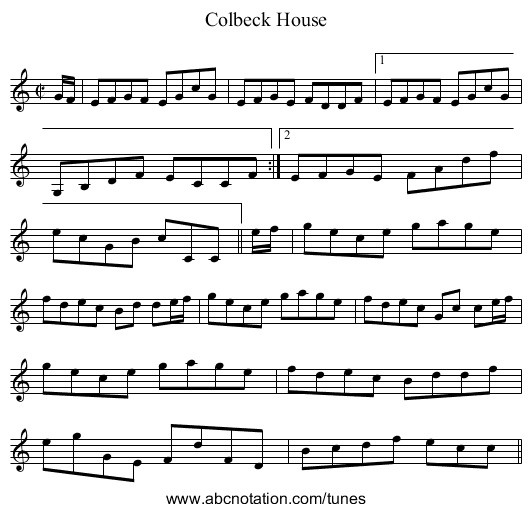 Colbeck House - staff notation