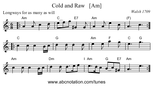 Cold and Raw   [Am] - staff notation