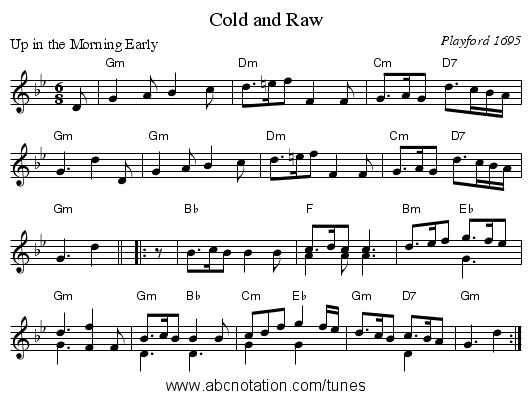 Cold and Raw - staff notation