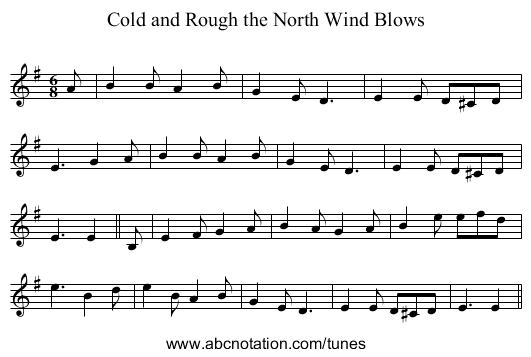 Cold and Rough the North Wind Blows - staff notation