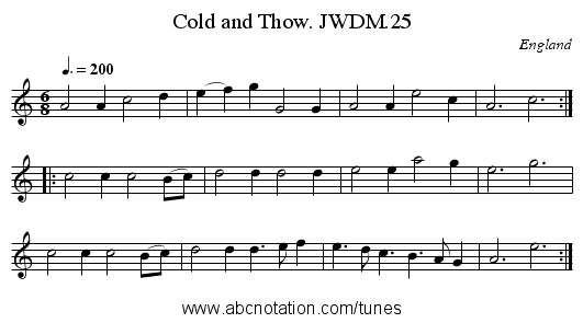 Cold and Thow. JWDM.25 - staff notation