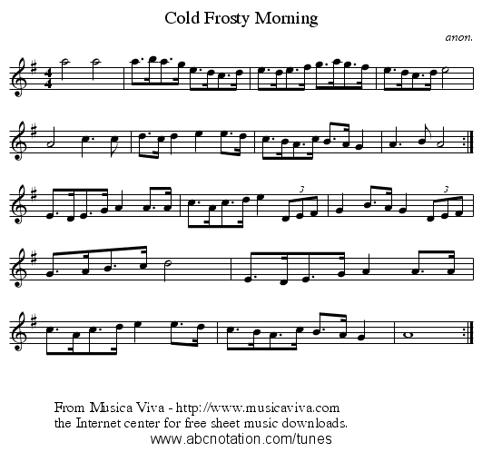 Cold Frosty Morning - staff notation