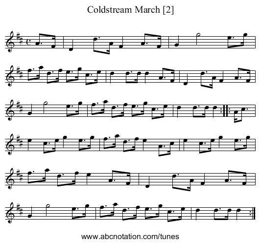 Coldstream March [2] - staff notation