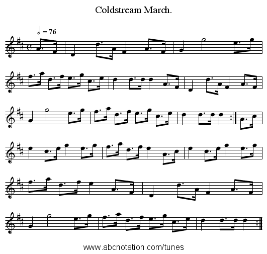 Coldstream March. - staff notation