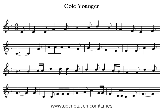 Cole Younger - staff notation