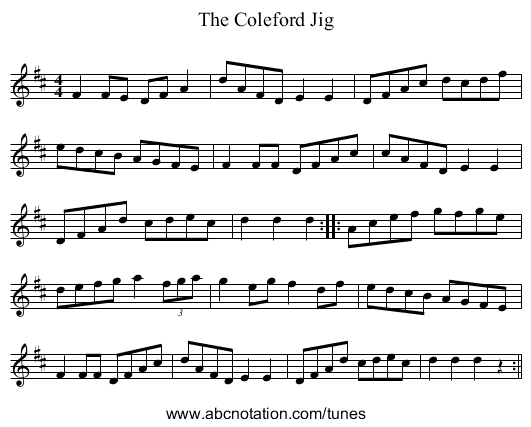 Coleford Jig, The - staff notation
