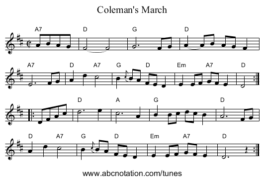 Coleman's March - staff notation