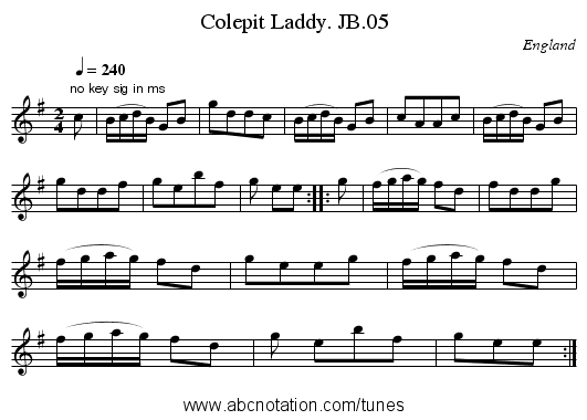 Colepit Laddy. JB.05 - staff notation