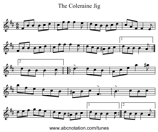 Coleraine Jig, The - staff notation