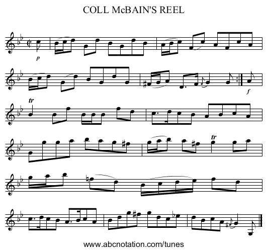 COLL McBAIN'S REEL - staff notation