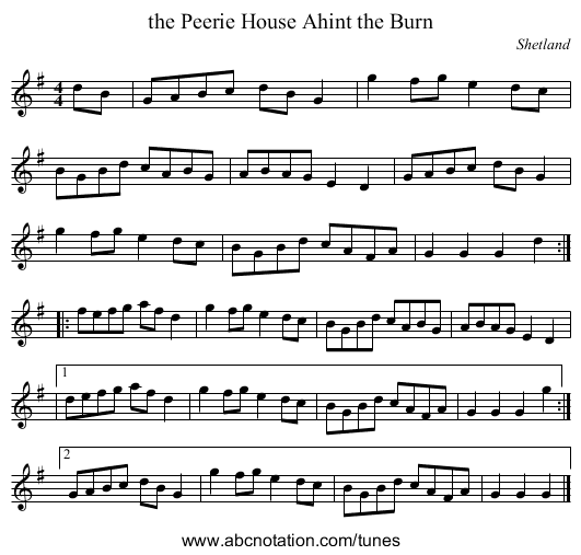 College Hornpipe (Craig 26), The - staff notation