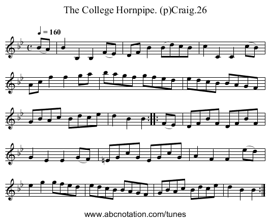 College Hornpipe. (p)Craig.26, The - staff notation
