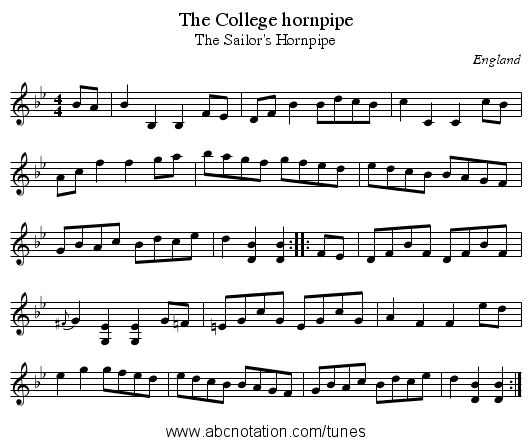 College hornpipe, The - staff notation