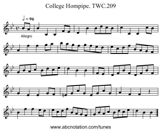 College Hornpipe. TWC.209 - staff notation