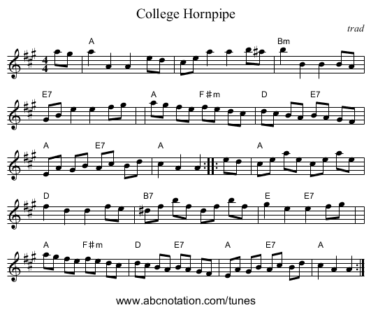 College Hornpipe - staff notation