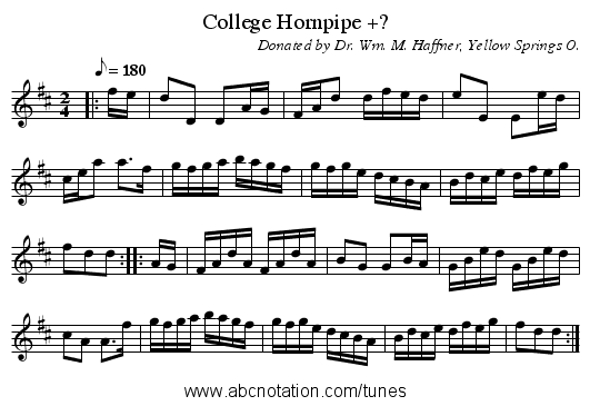 College Hornpipe +? - staff notation