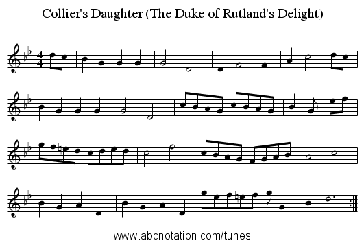 Collier's Daughter (The Duke of Rutland's Delight) - staff notation