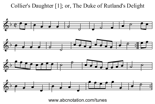 Collier's Daughter - staff notation