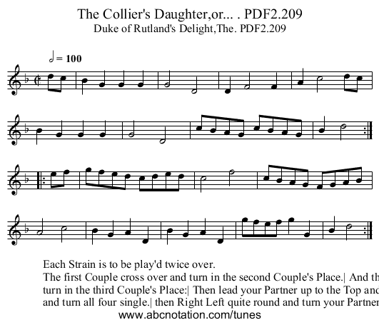 Collier's Daughter,or... . PDF2.209, The - staff notation