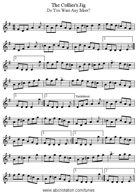 Collier's Jig, The - staff notation