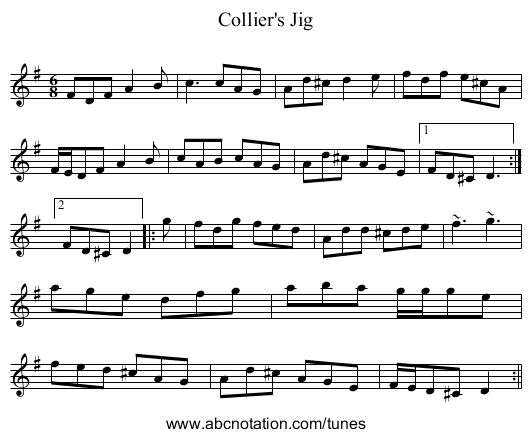 Collier's Jig - staff notation