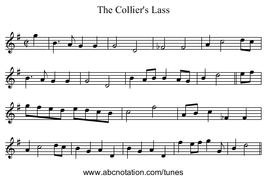 Collier's Lass, The - staff notation