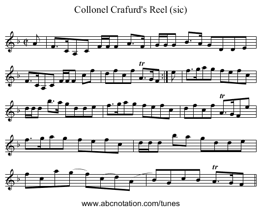 Collonel Crafurd's Reel (sic) - staff notation
