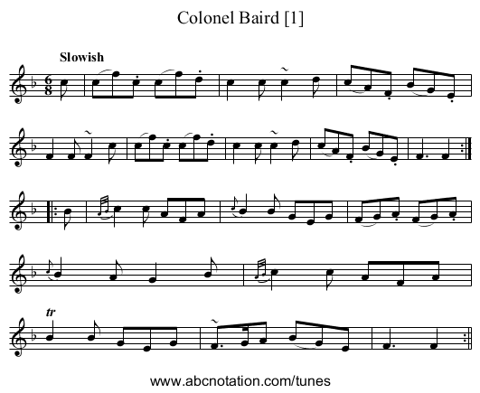 Colonel Baird [1] - staff notation