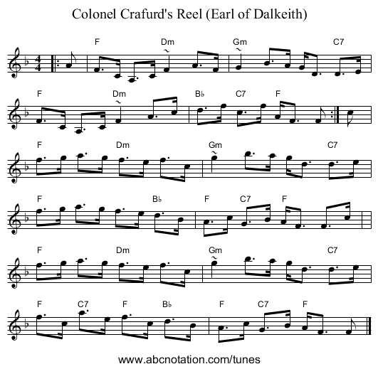 Colonel Crafurd's Reel (Earl of Dalkeith) - staff notation