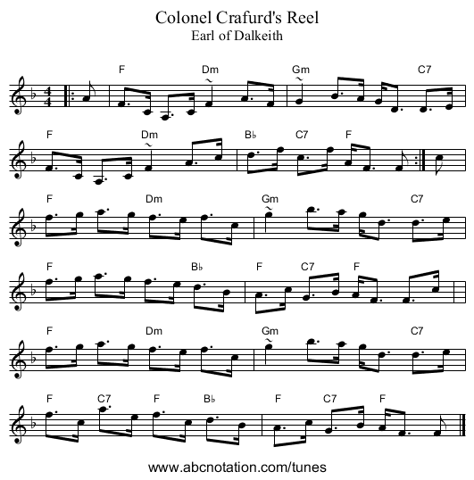 Colonel Crafurd's Reel - staff notation