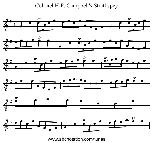 Colonel H.F. Campbell - staff notation