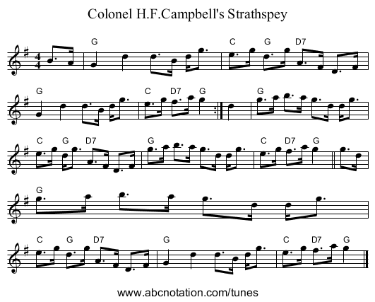 Colonel H.F.Campbell's Strathspey - staff notation