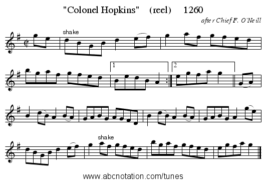 Colonel Hopkins    (reel)     1260 - staff notation