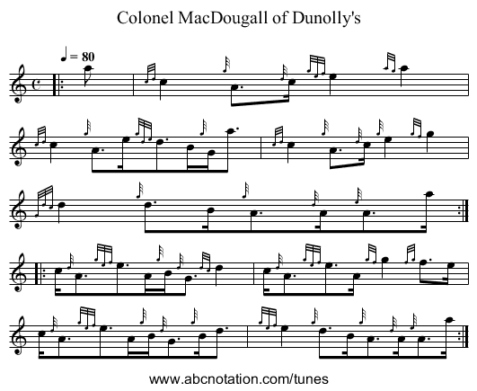 Colonel MacDougall of Dunolly's - staff notation