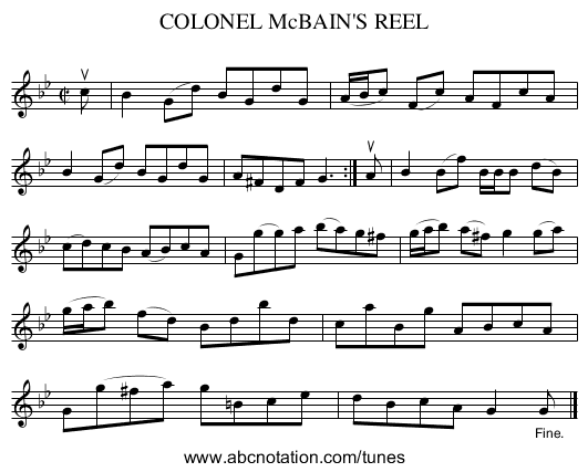 COLONEL McBAIN'S REEL - staff notation