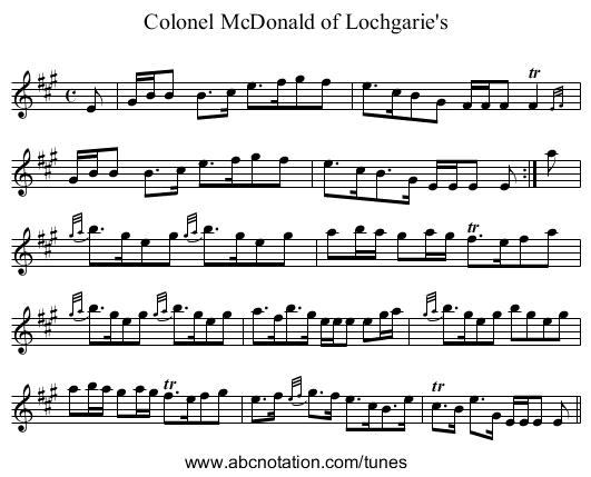 Colonel McDonald of Lochgarie's - staff notation