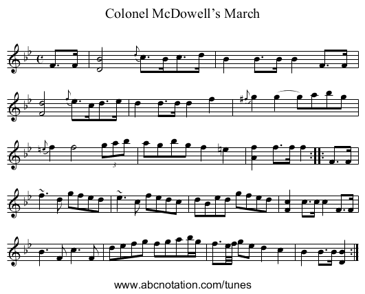 Colonel McDowell's March - staff notation