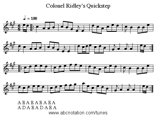 Colonel Ridley's Quickstep - staff notation