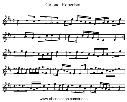 Colonel Robertson - staff notation