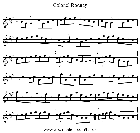 Colonel Rodney - staff notation