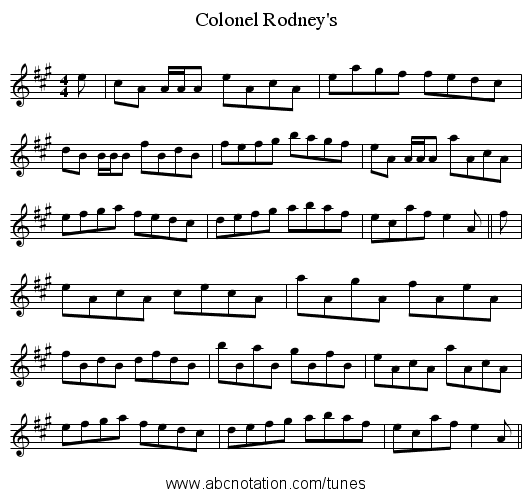 Colonel Rodney's - staff notation