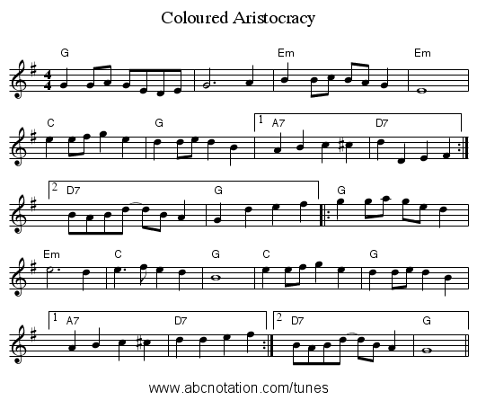 Coloured Aristocracy - staff notation