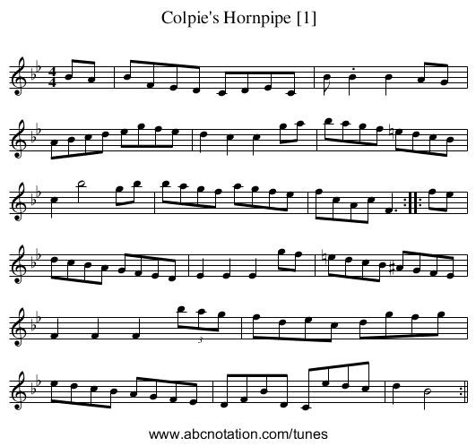 Colpie's Hornpipe [1] - staff notation