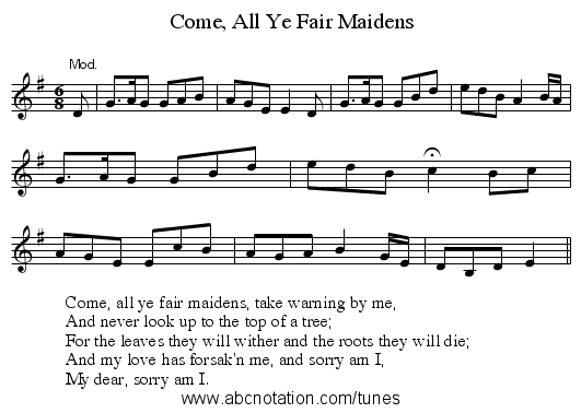 Come, All Ye Fair Maidens - staff notation