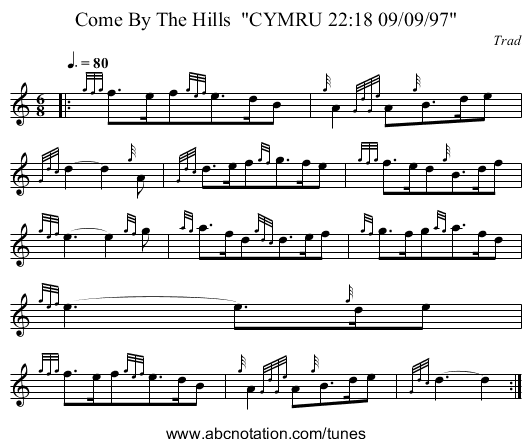 Come By The Hills  CYMRU 22:18 09/09/97 - staff notation